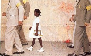 """The Problem We All Live With"" by Norman Rockwell depicts first-grader Ruby Bridges as she walked past angry protesters to attend school"
