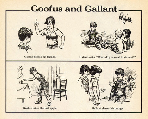 Goofus and Gallant is a cartoon feature that has appeared (in varying versions) in Highlights magazine since 1948.