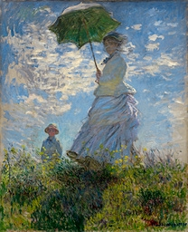 Here is La Promenade, also known as Woman with a Parasol.  It was painted in 1875 by Claude Monet.  The subjects are his wife and son.